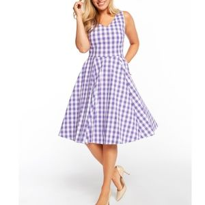 Lavender Gingham Swing Dress